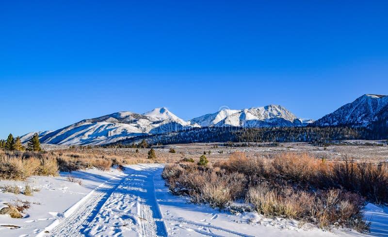 在声势浩大的湖的雪道 免版税库存图片