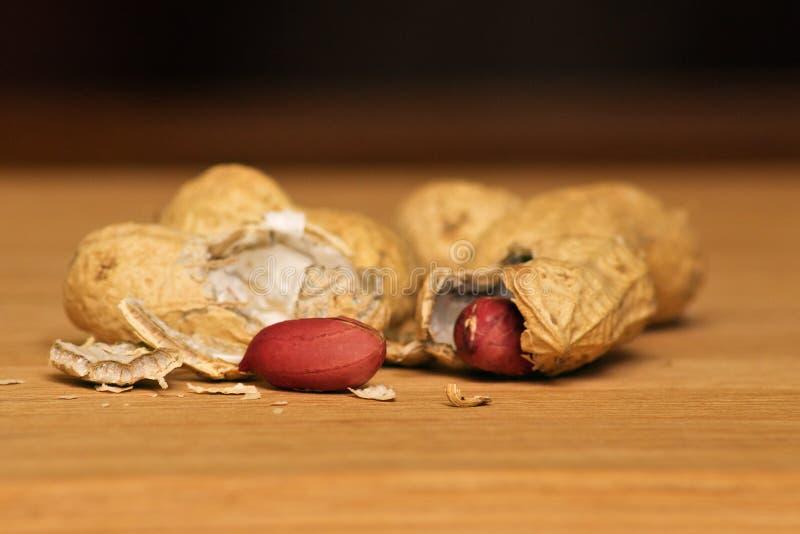 在壳的花生在木背景 库存照片