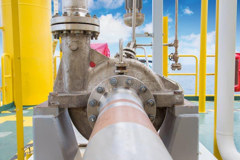 在处理平台的油和煤气的离心泵用于调动液体凝析油在油和煤气中央处理平台 免版税库存图片