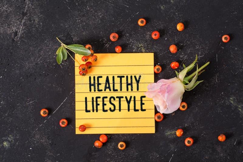 在备忘录的健康生活方式文本 库存图片