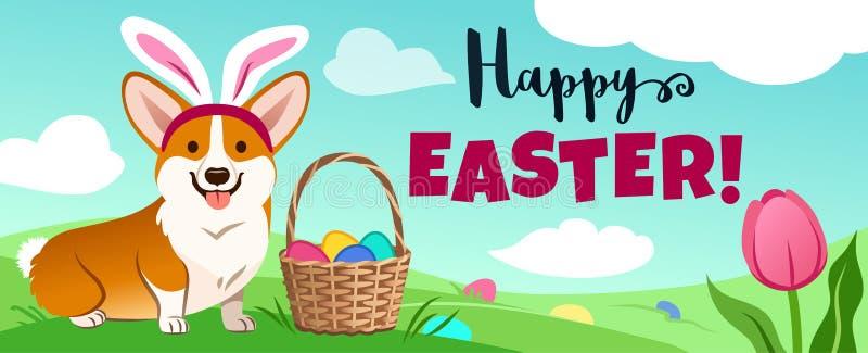 在复活节兔子服装的逗人喜爱的小狗狗在绿色领域,篮子充分坐糖果鸡蛋,在草掩藏的鸡蛋,传染媒介动画片 库存例证