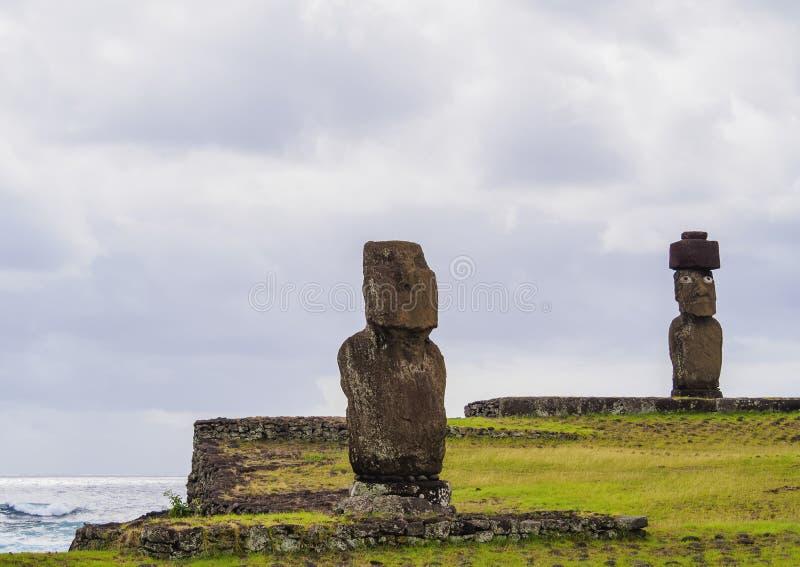 在复活节岛,智利的Moais 库存照片