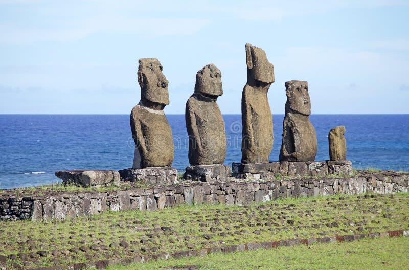 在复活节岛,智利的Tahai礼仪复合体 库存照片