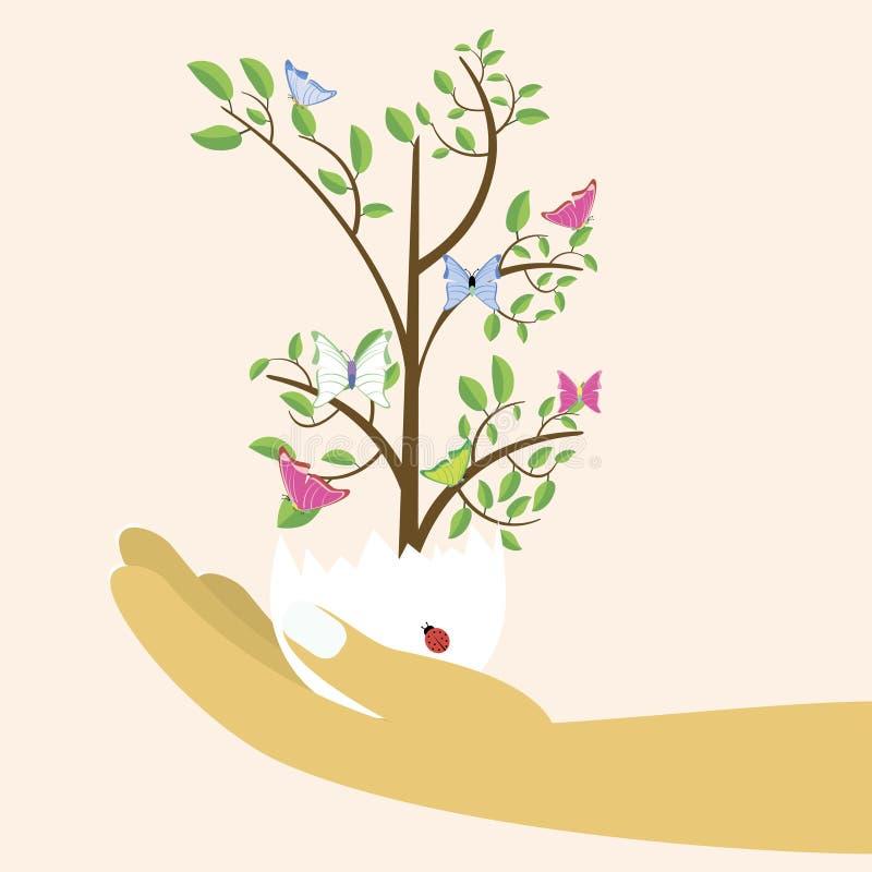 在复活节彩蛋的春天树在五颜六色的背景 o 拿着复活节彩蛋的妇女的手 库存例证