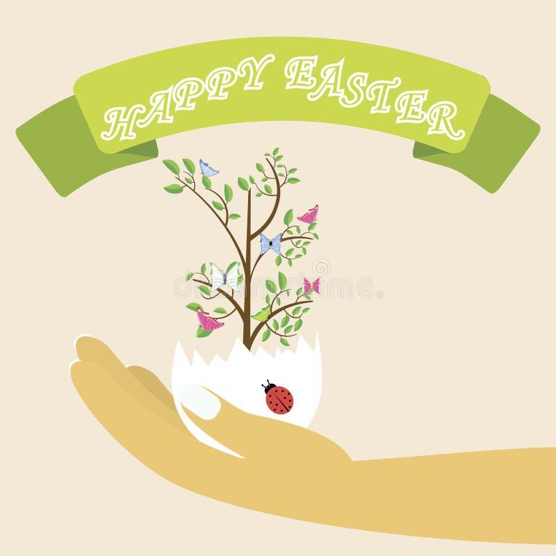 在复活节彩蛋的春天树在五颜六色的背景 o 拿着复活节彩蛋的妇女的手 皇族释放例证