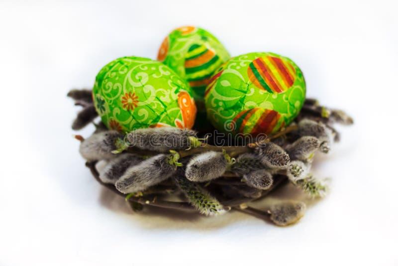 在复活节彩蛋的Decoupage 免版税库存照片