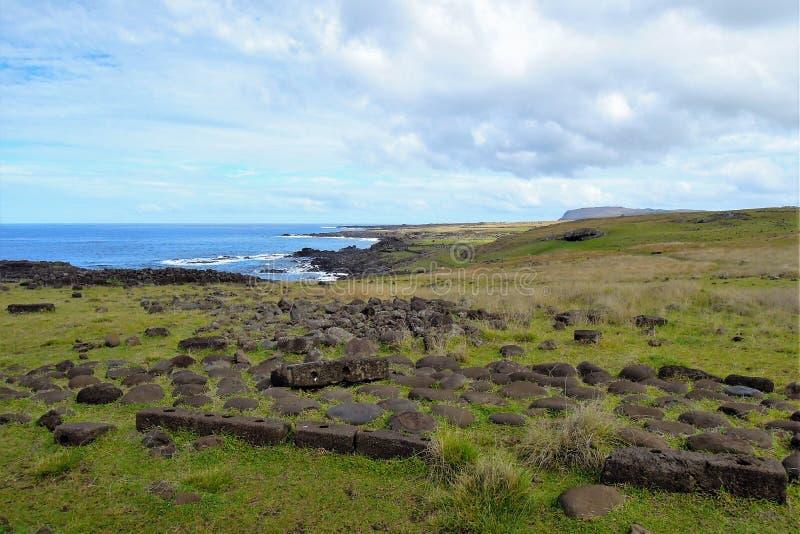 在复活节岛附近的海岸 库存图片