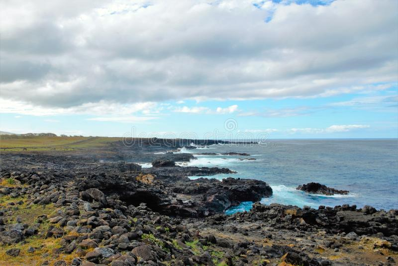 在复活节岛附近的海岸 库存照片