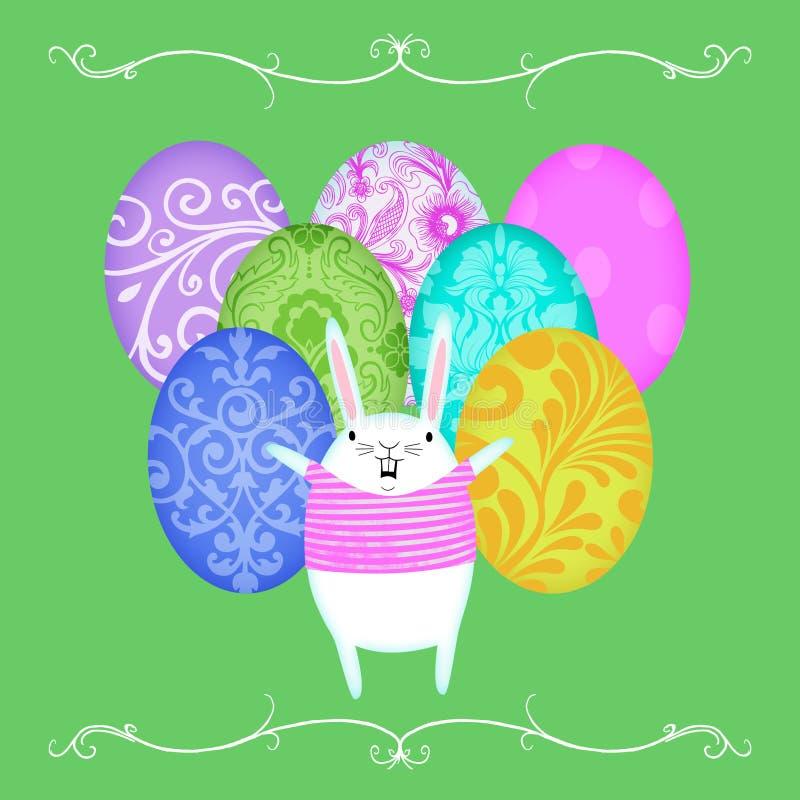 在复活节彩蛋前面行的复活节兔子  向量例证
