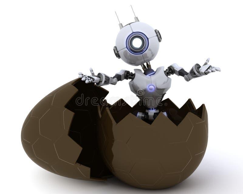 在复活节彩蛋的机器人 库存例证