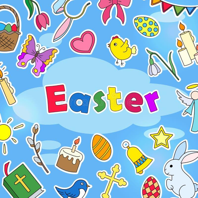 在复活节题材的背景例证,在蓝色背景的简单的色的贴纸象和词`复活节` 皇族释放例证