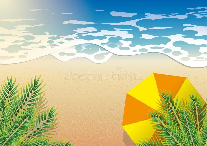 在夏天使海,在椰子树顶视图下的橙色伞靠岸 向量例证