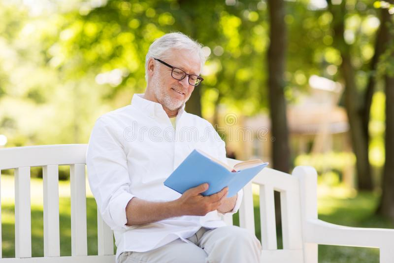 在夏天公园的愉快的老人阅读书 库存照片