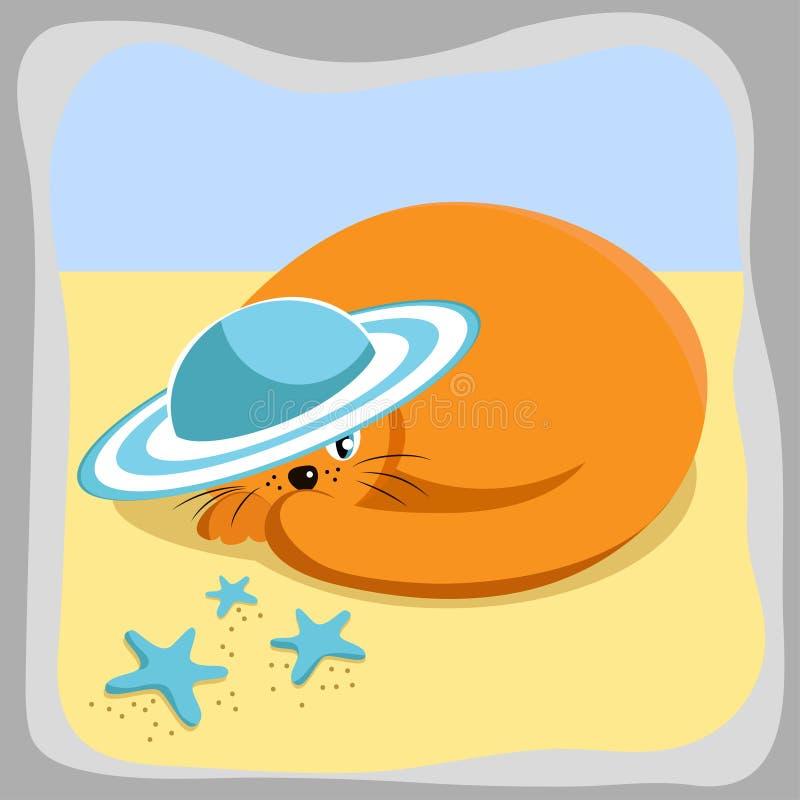 在夏天帽子的逗人喜爱的红色猫在海滩 向量例证