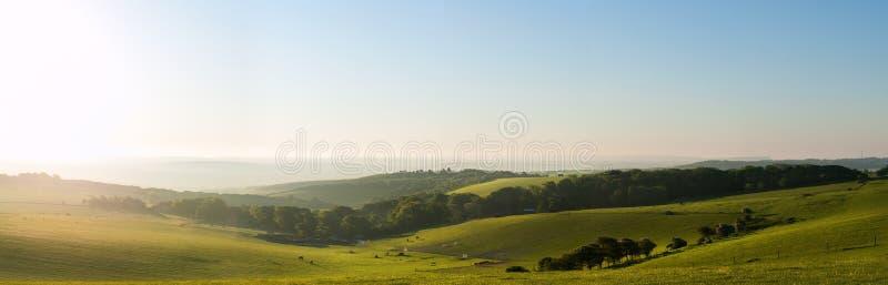 在夏天日出的乡下英国横向 图库摄影