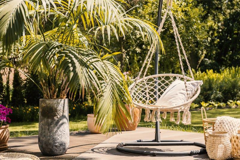 在夏天期间,在垂悬的椅子旁边的棕榈与在大阳台的枕头在庭院里 实际照片 库存图片