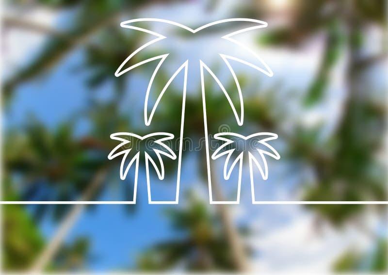 在夏天海滩的棕榈树线剪影弄脏了背景 Ve 库存例证