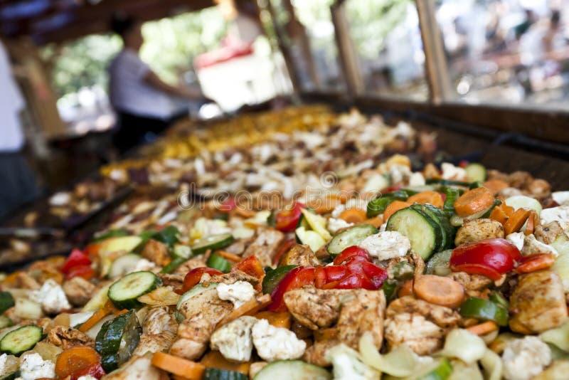 在夏天音乐节的食物 库存图片