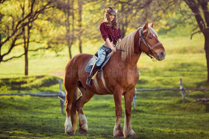 在夏天领域的美丽的女孩骑乘马 免版税库存照片