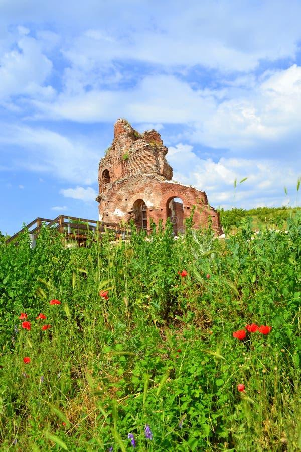 在夏天领域的老教会废墟 免版税库存照片