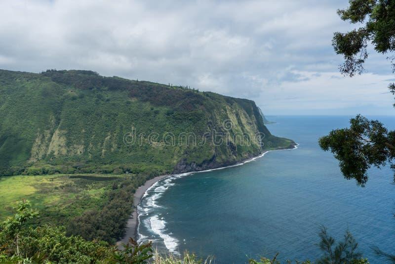 在夏威夷的大岛的美好的Waipio谷远景 库存图片