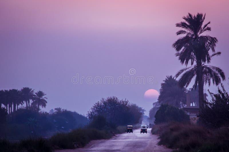 在夏日埃及人村庄的日落 免版税库存图片