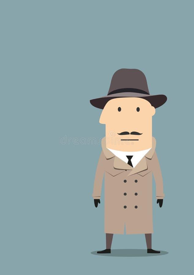 在外套的间谍或探员代理 库存例证