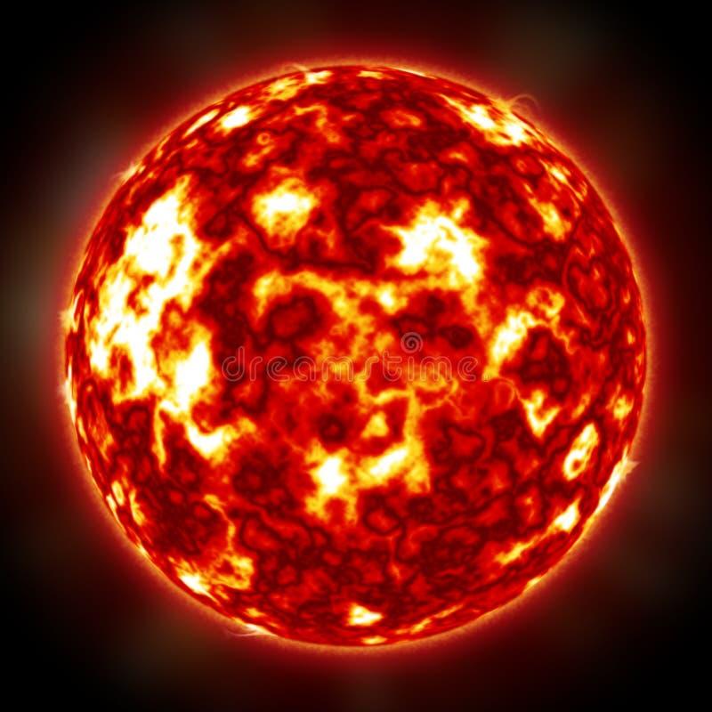 在外层空间火焰的太阳 皇族释放例证