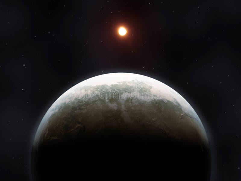 在外层空间的一个奇怪的行星 库存例证