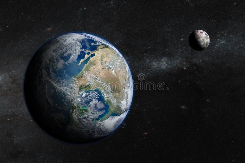 在外层空间的地球与美丽的月亮 免版税库存照片