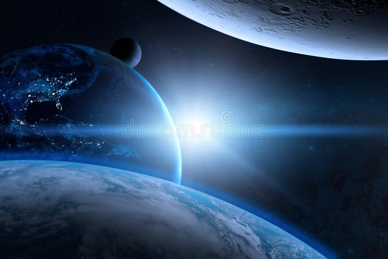 在外层空间的地球与美丽的行星 蓝色日出 向量例证