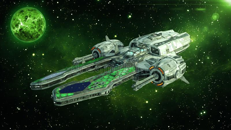 在外层空间的外籍人太空飞船与行星和星在背景中,飞碟航天器飞行在宇宙, 3D翻译 皇族释放例证