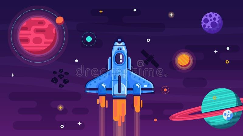 在外层空间的航天飞机飞行 皇族释放例证