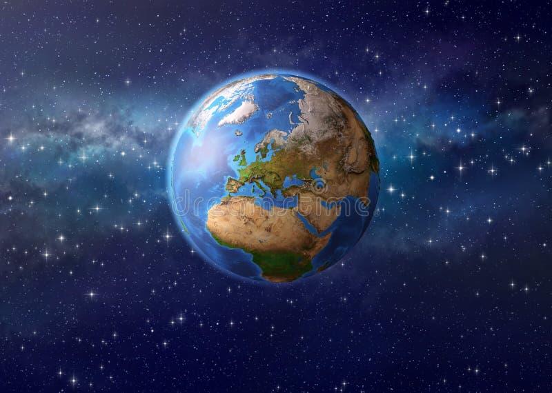 在外层空间的行星地球 免版税库存照片
