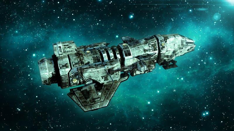 在外层空间,在宇宙的肮脏的航天器飞行的老外籍人太空飞船与星在背景,飞碟顶视图, 3D中回报 库存例证