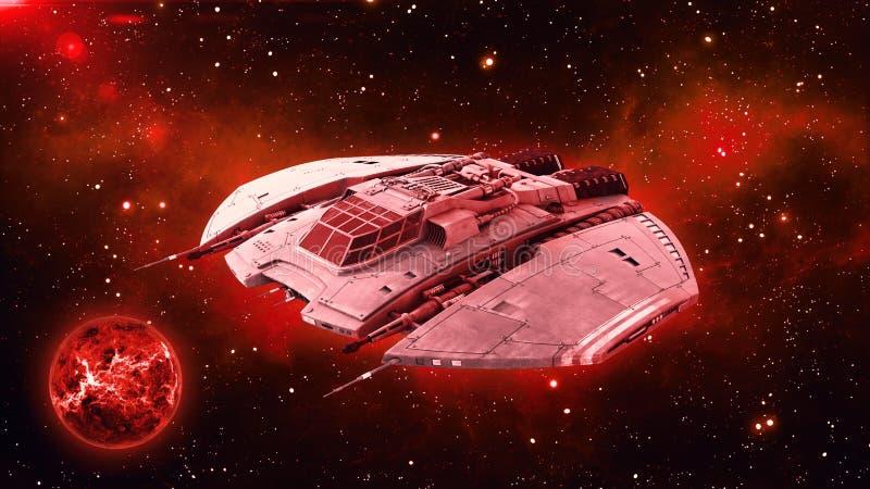 在外层空间,飞碟航天器飞行在宇宙与行星和星在背景中, 3D的外籍人太空飞船回报 向量例证