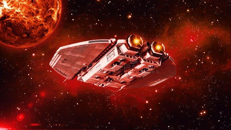 在外层空间,飞碟航天器飞行在宇宙与行星和星的外籍人太空飞船在背景,后方底视图中 库存例证