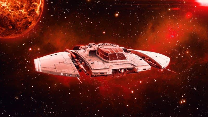 在外层空间,飞碟航天器飞行在宇宙与行星和星的外籍人太空飞船在背景,正面图, 3D中回报 皇族释放例证