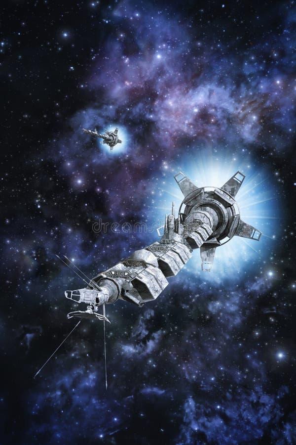 在外层空间的世代太空飞船 皇族释放例证