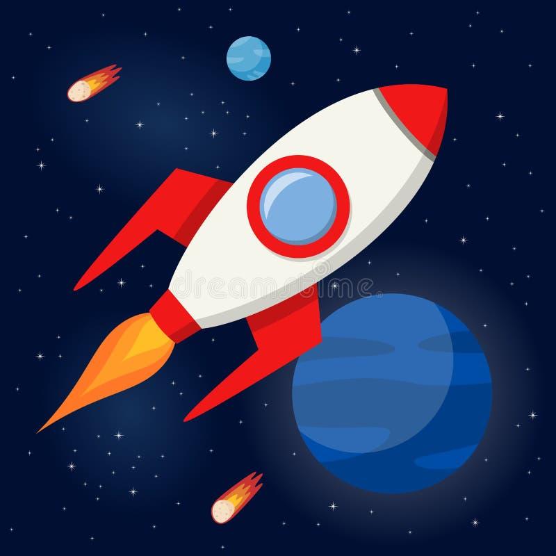在外层空间的太空火箭飞行 皇族释放例证
