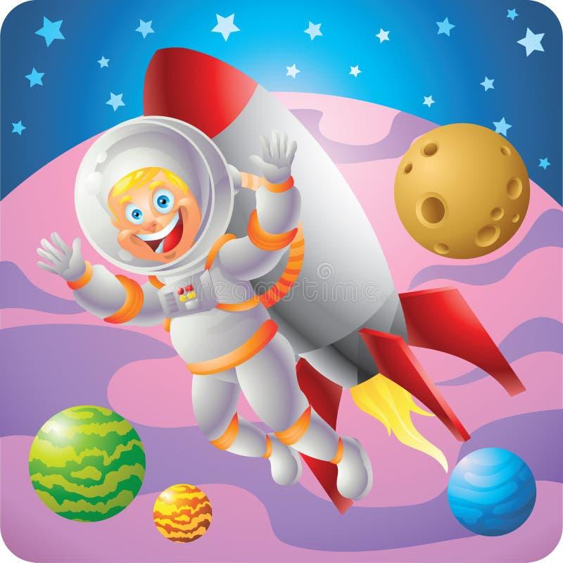 在外层空间的白肤金发的宇航员男孩火箭背包飞行 库存例证