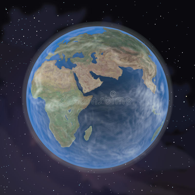在外层空间的行星地球(再传送64816038) 免版税库存照片