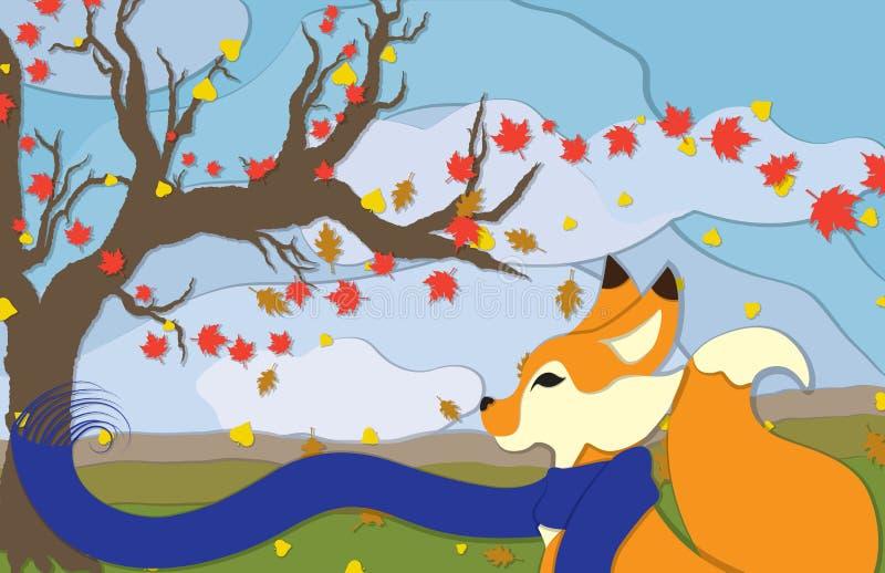 在外形视图的秋天Fox 向量例证