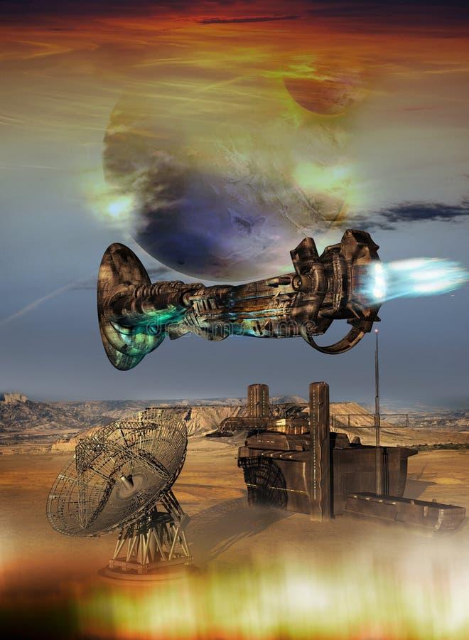 在外籍人行星的空间基地 库存例证
