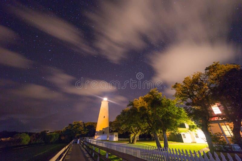 在外面银行的Ocracoke灯塔北卡罗来纳发光 免版税库存照片