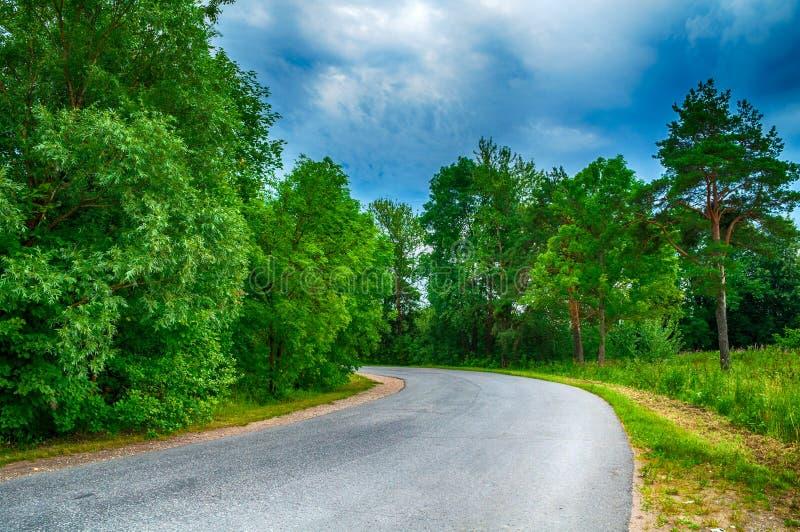 在多云天气-后退入距离的离开的郊区路的夏天风景在剧烈的多云天空下 免版税库存照片