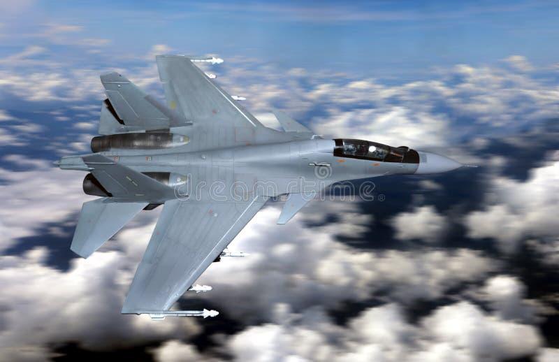 在多云天空上的军事喷气式歼击机飞行 库存照片