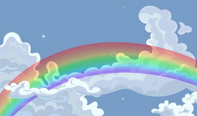 在多云天空的彩虹 o r 皇族释放例证