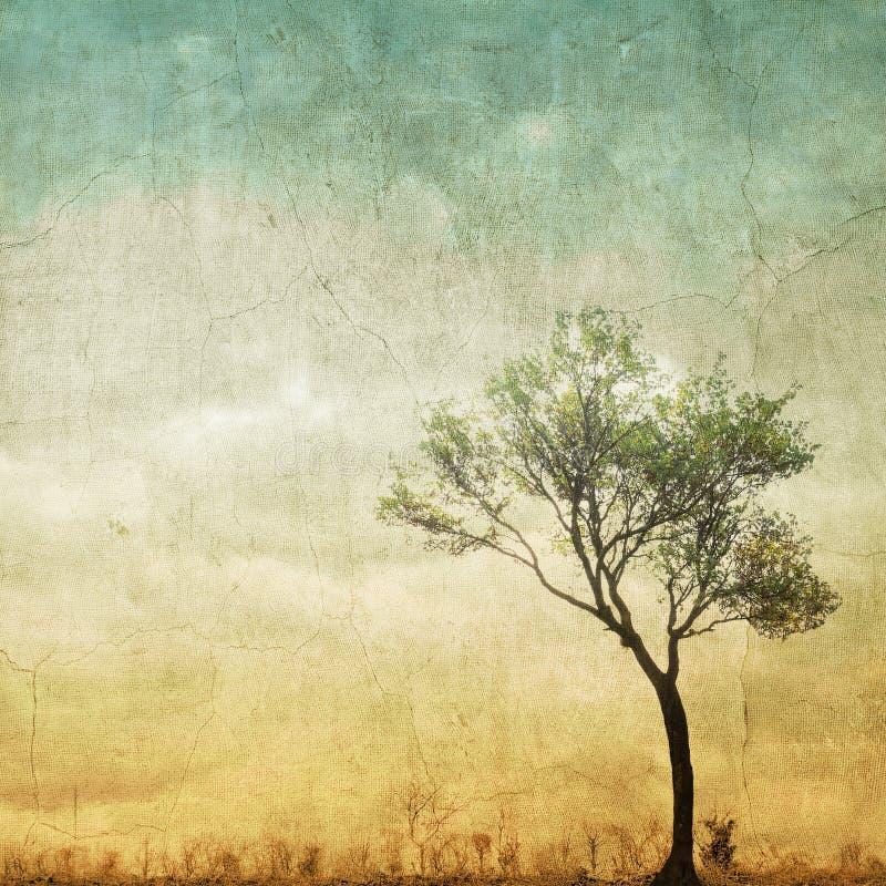 在多云天空的超现实的唯一树与拷贝空间 皇族释放例证