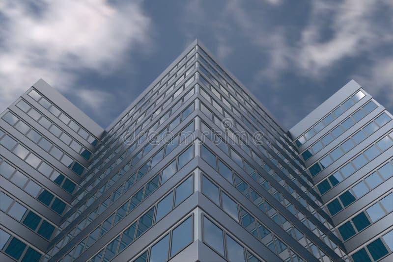 在多云天空的高层建筑物 图库摄影